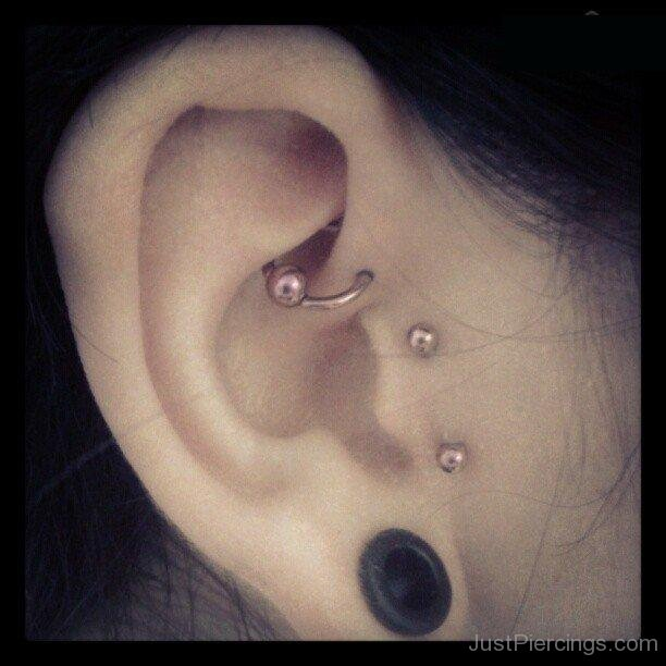 Very Surface Ear Tragus Piercing and Anti Helix Piercings LJ16